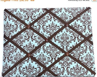 July 4th Sale Turquoise And Brown Memory Board, Turquoise Damask French Memo Board, Fabric Memo Bulletin Board, Ribbon Pin Board, Home Decor