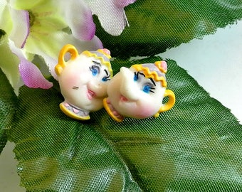 Mrs Potts Teapot Earrings Beauty and the Beast Inspired Plastic Earrings Vintage Stud Earrings Free Shipping In USA