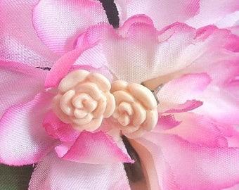 Eclipse Sale Lucite Light Pink Rose Stud Earrings Vintage Stud Earrings Open Rose Earrings Rose Stud Earrings