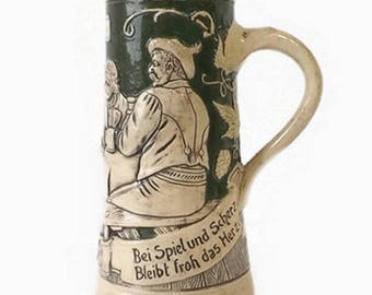 Vintage German Stein Mug, Beer Collectible, Green & Beige, Oktoberfest Display, Gift for Him