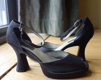 1940s Style Black Satin Peek-a-boo Toe Heels Modern US Size 10 Pin Up Rockabilly Viva Las Vegas