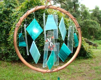 Teal dragonfly stained glass windchime