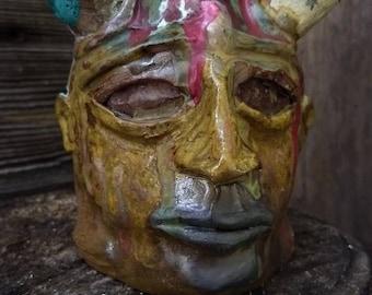melting horn devil FACE JUG by Joel Patton, ash glaze