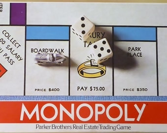 Monopoly vintage 1974 board game / original box and game / family game night