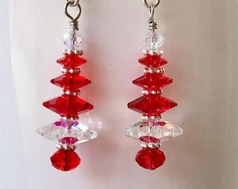 Swarovski Crystal Dangle Christmas Tree Earrings handmade srajd holiday gift Christmas