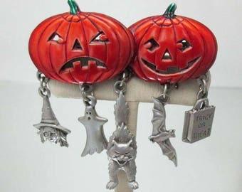 JJ J.J. Double Pumpkin & Charms Halloween Pin Brooch