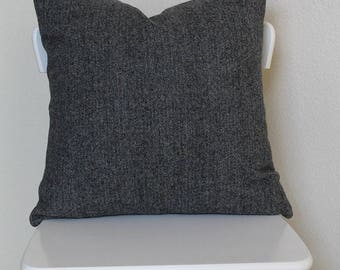"""Couch throw pillow Cover, Invisible zipper, closure, Gray wool. 18"""" square Home decor, cushion, wool herringbone, baby nursery pillow, bed"""