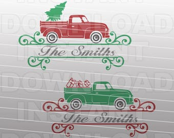 Old Christmas Truck Monogram Frame SVG -For Commercial & Personal Use- Vector Clip Art Cricut,Silhouette Cameo,Iron On vinyl Shirt Decal