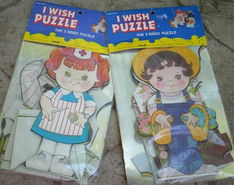 Vintage Puzzle Kawaii Kids Nurse & Farm Boy Puzzles - I Wish Puzzle 2 Sided Puzzle - New Old Stock Larami Puzzle Lot Kitschy Retro Kids Toy