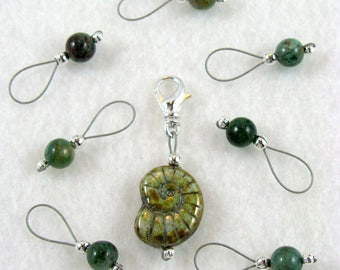 African Jade Knitting Stitch Markers and Removable - US 10 - Set of 8 - Item No. 1058