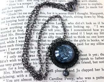Pentacle Wheel of the Year Cabochon Necklace with Larvikite Bead - Witchy Goth Pentagram Witchcraft