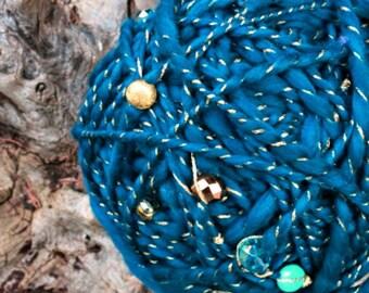 Handspun  Art Yarn - Teal Merino Wool  - Beaded Art Yarn - OOAK Yarn -  Distant Galaxy