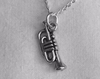 Clarinet, Bass Drum, Trumpet, Piano, Flute, Keyboard, Music Charm Necklaces - Sterling Silver Chain, ASL I Love You, Piano