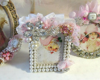 Pearl Frame embellished with Pink Ruffled Lace and Vintage Rhinestone Jewels, Bling Frame, Rhinestone Jewels Frame, Cathy Scalise