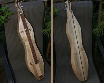 Mountain Dulcimer, Ambrosia Curly Maple, 4-string Hour-glass, with 2-band Electric