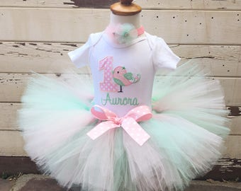 Little Bird 1st Birthday Tutu Outfit- Personalized Baby Girl- Pink & Mint Green