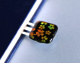 Orange Flowers Blue Book Mark Dichoric Glass, Gift, Book, Book Accessories - Woman Gift - Bookworm Gift - Getglassy