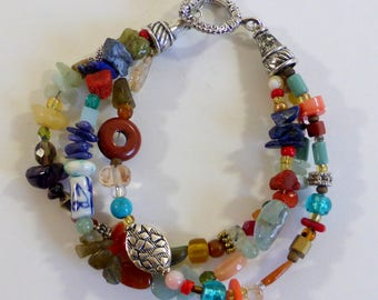 Three Strand Multi Stone Boho Eclectic Mixture of Stones Beads  Blue Coral, Carnelian,Stone, Stilvertone Beads,Glass Casual Hippie