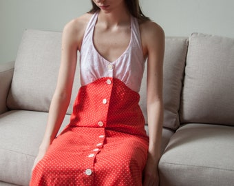 70s red pink polka dot halter dress / embroidered eyelet maxi dress / s / 106d