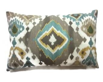 Decorative Ikat Design Lumbar Pillow Cover Teal Taupe Light Cream Same Fabric Front/Back 12x18 inch