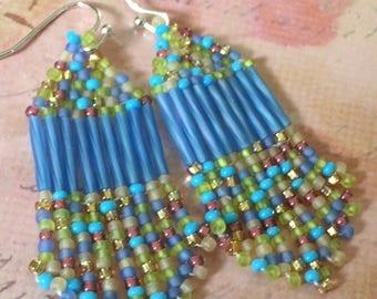 Small Beaded Sea Glass Fringe Seed Bead Earrings Beaded Dangle Earrings