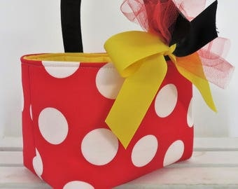 Halloween Fabric Basket Bucket - Red White Large Jumbo Dots  - Candy Loot Goodie Bag - Trick or Treat - Personalized Name Tag Available