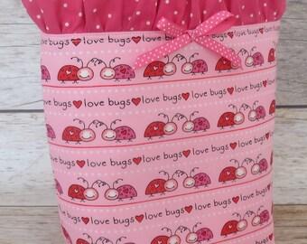 Valentine Love Bugs Fabric | Girl Ballet Dance Mini Tote Bag | Handbag for Girls | Kids Bag | Ballet Gift for Girl | Ballet Tote Bag