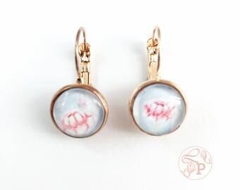 Vintage floral rose gold earrings / rose gold pierced earring / rose gold jewellery / shabby floral jewelry gift / pale blue / vintage roses