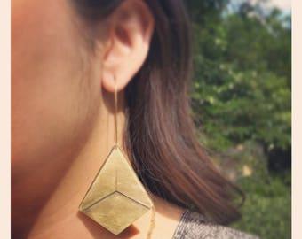 Big brass geometric earrings