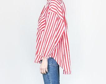 80s Oversized Red Stripe Shirt (L)