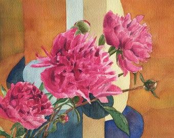 ORIGINAL watercolor: Bunch of peonies