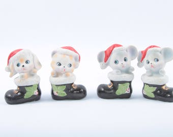 Cute Holiday Figurines, Cat and Dog, Puppies, Kittens, Mice, HOMCO, Made in Taiwan, Ceramic, Vintage Christmas Decorations ~  SS004
