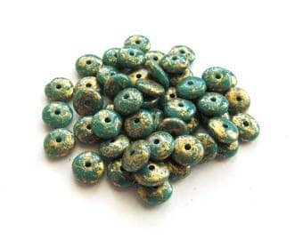 Tiny Turquoise Green Czech Glass Disks with Metallic Gold Finish, 6mm - 50 pieces