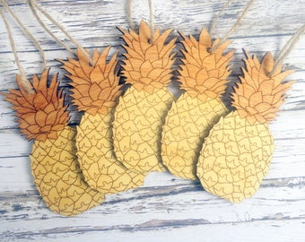 Pineapple Christmas tree ornaments / Laser cut decorations. 4th anniversary gift. Natural wood. Unusual, rustic, modern, fun, tropical fruit