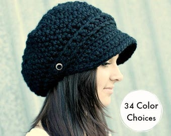 Black Hat Black Newsboy Hat Black Crochet Hat Black Womens Hat Black Slouchy Hat Fall Fashion Winter Accessories - 34 Color Choices