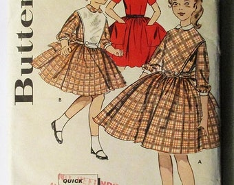 30% OFF SALE 1950s Vintage Sewing Pattern Butterick 9486 Girls Quick N Easy Dress Pattern Size 12 Breast 30
