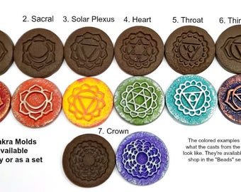 36 mm Chakra Mold - Single Mold or Set of 7 - Rigid - For Polymer Clay, Ceramic, Paper, PMC etc