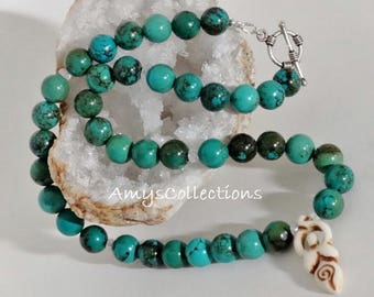 Fertility Goddess Turquoise Gemstone Necklace and Earring Set