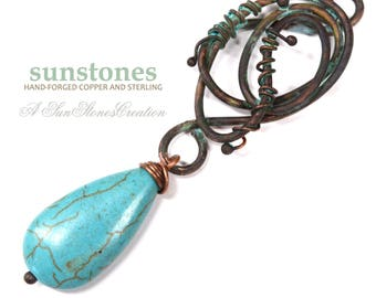 Hand Forged Copper and Turquoise Magnesite Pendant Component F0723