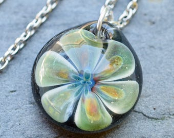 Glass Flower Pendant Necklace Boro Lampwork Jewelry - Darling