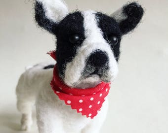 Needle felted wool fibre French Bulldog sculpture