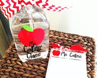 ON SALE teacher gift set featuring a personalized jumbo hand sanitizer and a monogrammed acrylic notepad holder