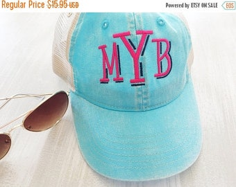 ON SALE Monogram Trucker Hat - Monogrammed Trucker Hat - Distressed Baseball Hat - Monogrammed Baseball Hat - Vintage Wash Baseball Hat - Ca
