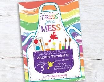 Artist Girl Birthday Invitation - Paint Party Invitation - Paint Party Invite - Painting Birthday Invitation - Art Party Birthday Invites