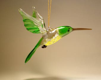 Handmade Blown Glass Figurine Art Bird Green and Yellow Hanging HUMMINGBIRD Ornament