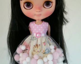 PREORDER Playful Kitty pom-pom dress for Blythe and Pullip