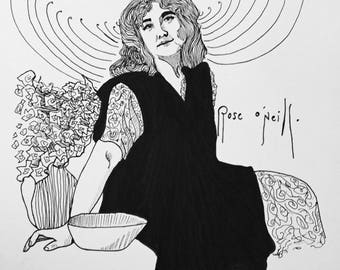 Rose O'NEILL 9x13 ink line drawing