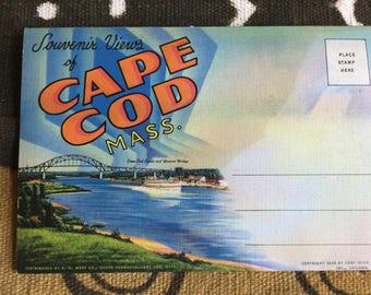 VINTAGE Souvenir Linen Postcard Views Folder of Cape Cod Massachusetts