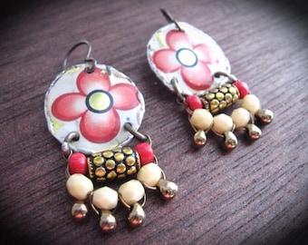 Tin Earrings, Gypsy Tin Dangle Earrings, Frida Kahlo Inspired
