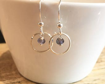 Small Silver circle and Iolite Earring